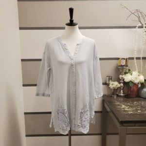 Meadow Rue Blue Lace Button Up Cardigan. Size S.